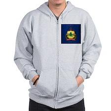 Grunge Vermont Flag Zip Hoodie