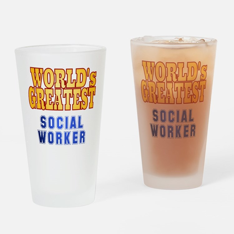 World's Greatest Social Worker Drinking Glass