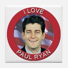 I Love Paul Ryan Tile Coaster