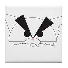 Crabby Cat White Tile Coaster