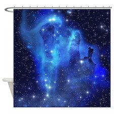 Blue Space Cloud Shower Curtain