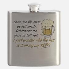 Half Empty Beer Flask