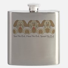 No Evil Puppies Flask