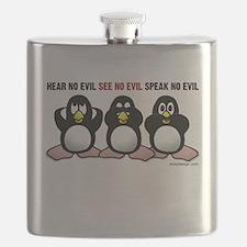 No Evil Penguins Flask