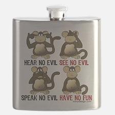 No Evil Fun Monkeys Flask