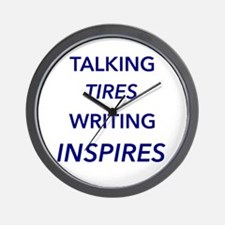 Blue - Talking Tires Writing Inspires Wall Clock