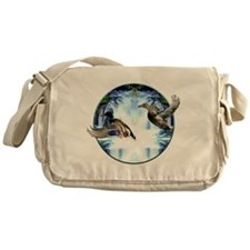 Mallards in flight Messenger Bag