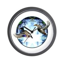 Mallards in flight Wall Clock