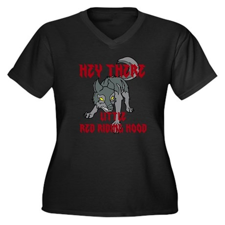 Hey there-Wolf1 Women's Plus Size V-Neck Dark T-Sh