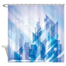 Blue Abstract City Shower Curtain