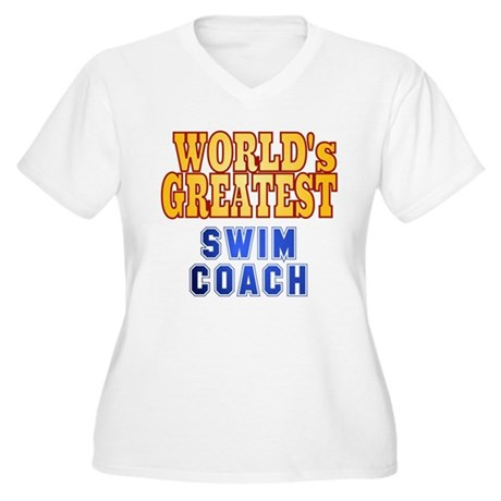 World's Greatest Swim Coach Women's Plus Size V-Ne