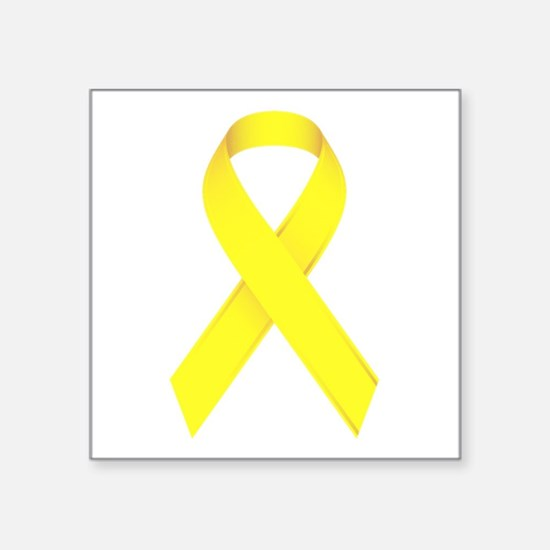 "Yellow Ribbon Square Sticker 3"" x 3"""