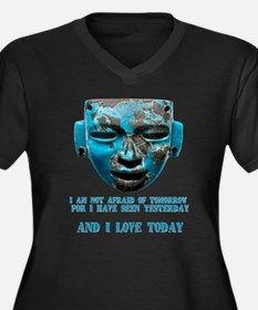 Teotihuacan mask Women's Plus Size V-Neck Dark T-S