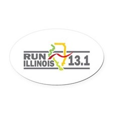 Run Illinois 13.1 Oval Car Magnet