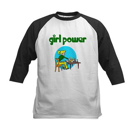 Girl Power Chess Kids Baseball Jersey
