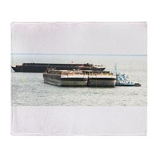 Throw Blanket With Barges and Tug