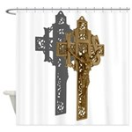 Crucifix on Side Shower Curtain
