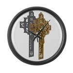 Crucifix on Side Large Wall Clock