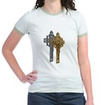 Crucifix on Side Jr. Ringer T-Shirt