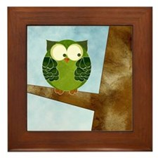 Little Green Owl Framed Tile