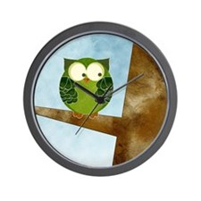 Little Green Owl Wall Clock