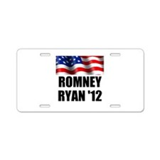 Romney Ryan 12, Waving Flag Aluminum License Plate