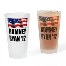 Romney Ryan 12, Waving Flag Drinking Glass