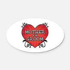 Tattoo Heart Mother Groom Oval Car Magnet