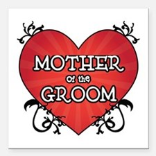 "Tattoo Heart Mother Groom Square Car Magnet 3"" x 3"