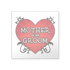 "Tattoo Heart Mother Groom Square Sticker 3"" x 3"""