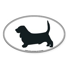 Basset Hound Silhouette Oval Decal