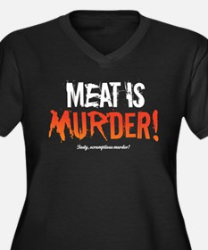 Scrumptious Murder Women's Plus Size V-Neck Dark T