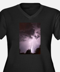 Lightening Women's Plus Size V-Neck Dark T-Shirt