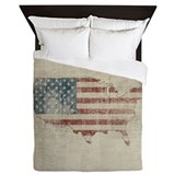 Vintage usa map Luxe Full/Queen Duvet Cover