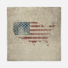 Vintage USA Flag / Map Queen Duvet