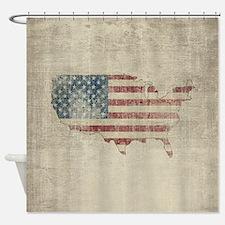 Vintage USA Flag / Map Shower Curtain