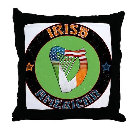 Irish American Harp Throw Pillow