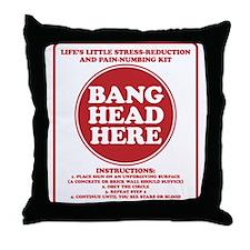 Bang Head Here Stress Reduction Kit Throw Pillow