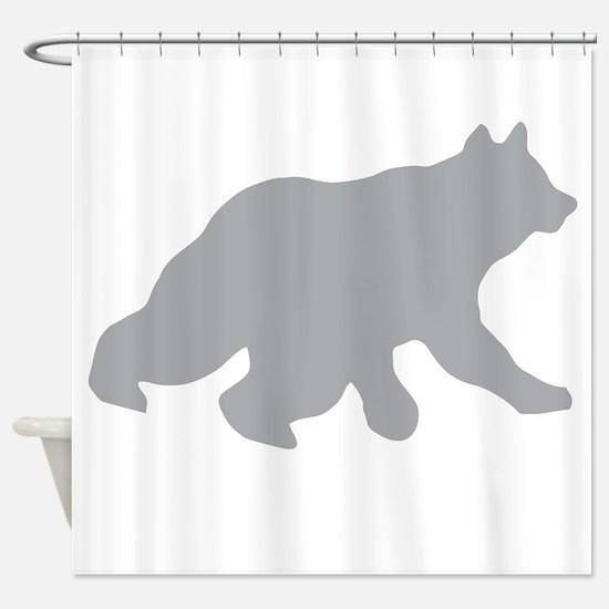 Gray Bear Cub Crossing Walking Shower Curtain