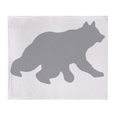 Gray Bear Cub Crossing Walking Throw Blanket