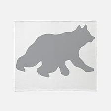 Gray Bear Cub Crossing Walking Throw Blanket