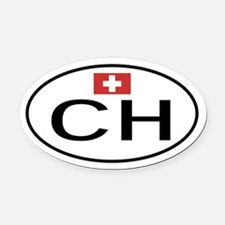 CH Switzerland.png Oval Car Magnet