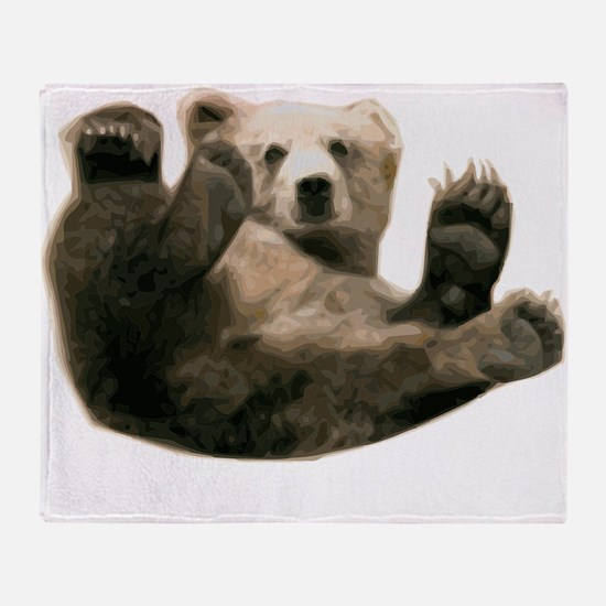 Brown Bottom Bear Cub Playful Fuzzy Throw Blanket