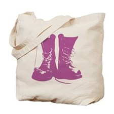 Purple Combat Boots with Untied Laces Tote Bag