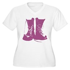 Purple Combat Boots with Untied Laces T-Shirt