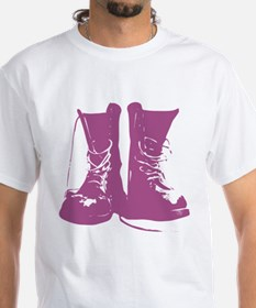 Purple Combat Boots with Untied Laces Shirt