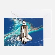 Shuttle Atlantis over Bahamas Greeting Card