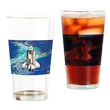 Shuttle Atlantis over Bahamas Drinking Glass