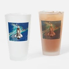 Shuttle Atlantis over Bahamas Drinking Glass