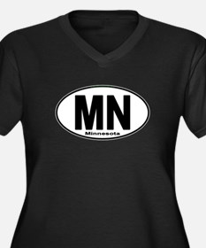 Cute Mn Women's Plus Size V-Neck Dark T-Shirt